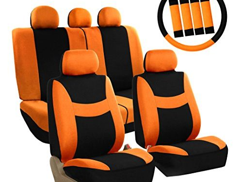 FH Group FB030ORANGE-COMBO Seat Cover Combo Set with Steering Wheel Cover and Seat Belt Pad Airbag Compatible and Split Bench Orange
