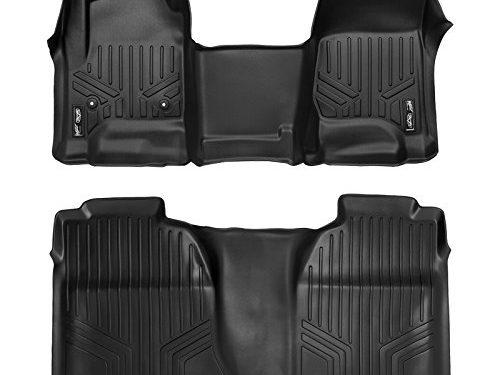 SMARTLINER Floor Mats 2 Row Liner Set Black for Crew Cab 2014-2018 Silverado/Sierra 1500 – 2015-2019 2500/3500 HD