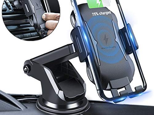 Homder Automatic Clamping Wireless Car Charger Mount, 10W/7.5W Qi Fast Charging Car Phone Holder,Windshield Dashboard Air Vent Compatible with iPhone Xs/Max/X/XR/8/8 Plus,Samsung Note 9/ S9/ S9+/ S8