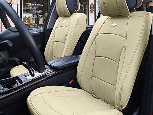 FH Group PU205SOLIDBEIGE102 PU205102 Ultra Comfort Leatherette Front Seat Cushions Airbag Compatible Solid Beige