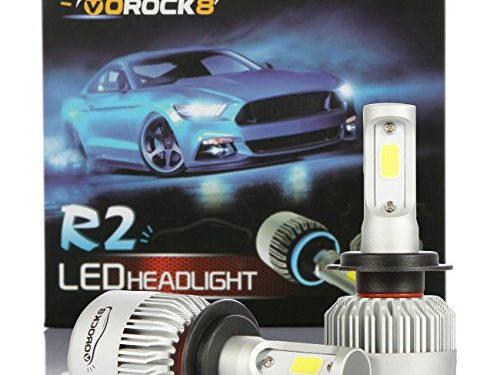 VoRock8 R2 COB H7 8000LM LED Headlight Conversion Kit,High Beam Low Beam headlamp, Fog Light, Halogen Head Light Replacement, 6500K Xenon White, 1 Pair- 1 Year Warranty