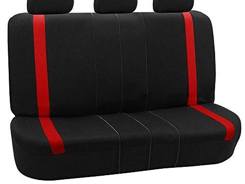 FH GROUP FH-FB054013 Red Cosmopolitan Flat Cloth Seat Covers, Airbag compatible and Split Bench, Red / Black Color -Fit Most Car, Truck, Suv, or Van