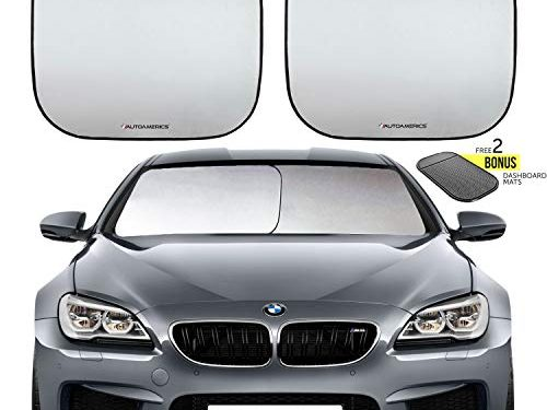 Autoamerics Windshield Sun Shade 2-Piece Foldable Car Front Window Sunshade for Most Compact Sports Cars – Small Fit – Auto Sun Blocker Visor Protector Blocks Max UV Rays and Keeps Your Vehicle Cool