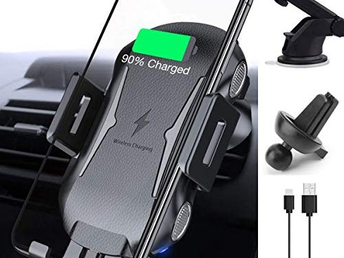 Wireless Car Charger Mount, Auto Clamping 10W/7.5W Qi Fast Charging Car Phone Holder Air Vent Windshield Dashboard Compatible iPhone Xs/Xs Max/XR/X/ 8/8 Plus, Samsung Galaxy S10/S9/S8/S8+ Black 1