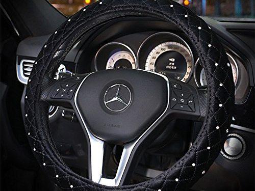 Sino Banyan Girly Wool Diamond Bling Bling Steering Wheel Cover,15 Inch,Black