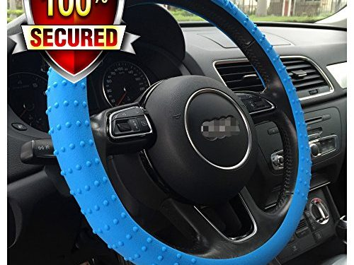 OHF Steering Wheel Cover Auto Car Silicone Great Grip Anti-Slip Steering Cover for Diameter 36-38cm/14-15inch Deep Blue1