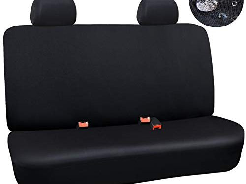 Elantrip Waterproof Rear Bench Seat Cover Water Resistant Universal Fit Seat Protection Quick Install for Cars SUV Truck, Black 3 PC