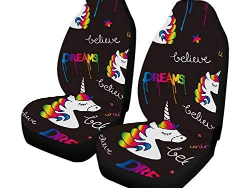 INTERESTPRINT Unicorns Dreams Magical Front Seat Covers 2 pc,Universal fit for Vehicles, Sedan and Jeep