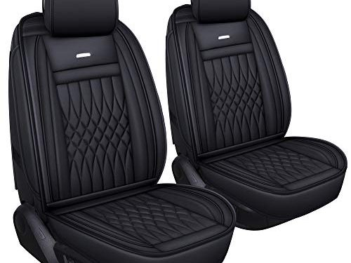 LUCKYMAN CLUB 2 PC Front Car Seat Covers with Waterproof Leather Universal for Sedan SUV Truck Fit for Most Chevy Hyundai Kia Honda Mazda Nissan Toyota Black- 2pcs