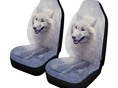 INTERESTPRINT White Wolf in The Forest in Winter Front Seat Covers 2 pc,Entire Seat Protection, Car Front Seat Cushion for Pets Running Gym