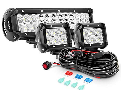 Nilight ZH016 12 Inch 72W Spot Combo Bar 2PCS 4 Inch 18W Flood LED Fog Lights with Off Road Wiring Harness-2 Leads, 2 Years Warranty