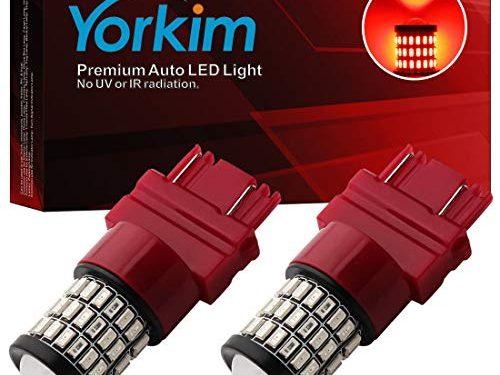 Yorkim Ultra Bright 3157 LED Bulb Amber, 3157 LED Brake Lights, 3157 LED Backup Reverse Lights, 3156 LED Tail Lights with Projector – 3056 3156 3156A 3057 4057 3157 4157 T25 LED Bulbs, Pack of 2