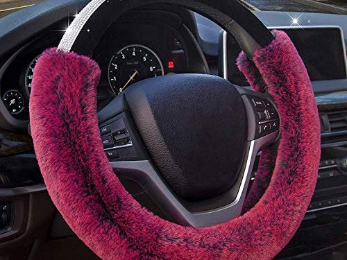 Didida Winter Warm Faux Wool and Bling Diamond Fluffy Fashion Steering Wheel Covers for Women/Girls/Ladies 15 Inch,Rose