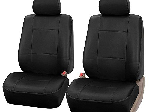 FH Group Universal Fit Front Car Seat Cover – Faux Leather Black, Set of 2