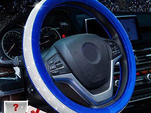 Alusbell Crystal Diamond Steering Wheel Cover Soft Velvet Feel Bling Steering Wheel Cover for Women Universal 15 inch Plush Wheel Cover for Escape Fusion Focus Accord Prius Rav4 Sapphire Blue
