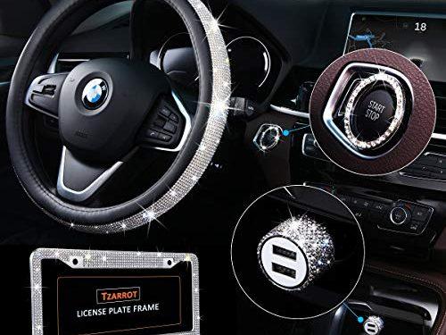 Bling Car Accessories Set, Bling Steering Wheel Cover for Women Universal Fit 15 Inch, Bling License Plate Frame for Women, Bling Car USB ChargerFast Charging, Bling Car Decor Set 4 Pack