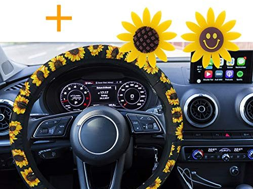 FEBSNOW Sunflower Steering Wheel Cover – Handmade Stretch-on Fabric Steering Wheel Cover Universal Fit Cute and Fashionable Sunflower Car Accessories